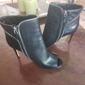 Halogen Black Leather Peep Toe Booties
